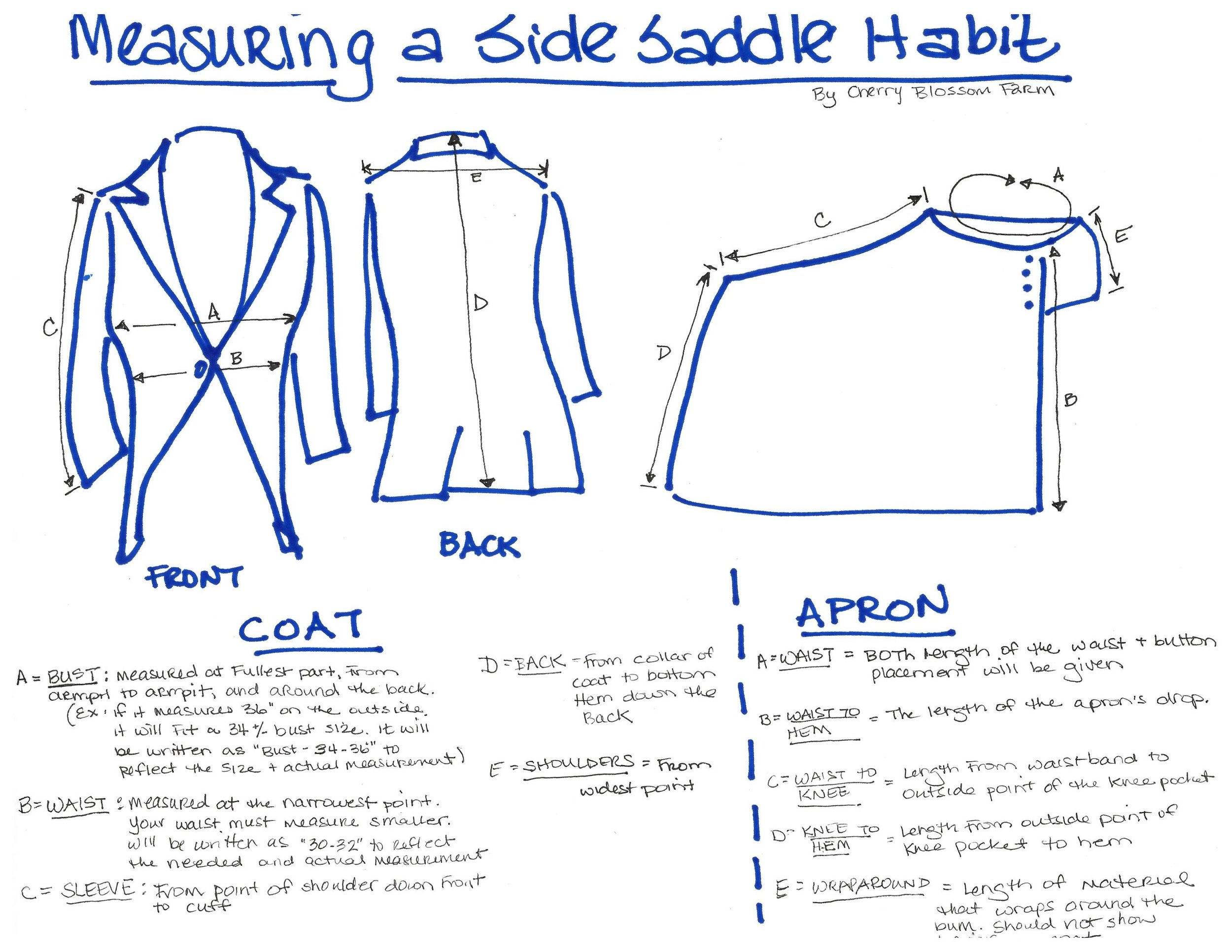 Please click on the image to see how we measure jackets and aprons