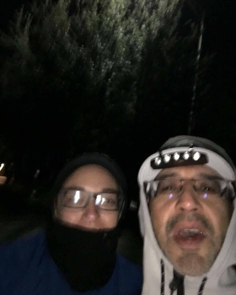 "Frank and I's ""it's too cold to be out here"" Halloween Horror AM run picture. ❄️❄️❄️🥶🥶👻👻🎃🎃💀💀"