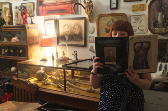 Art Macabre's host and director Nikki Shaill researching at Morbid Anatomy Museum, New York
