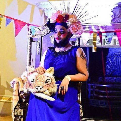 Harnaam Kaur aka The Bearded Dame (Guinness World Record holder for youngest full bearded woman) posing at Art Macabre's RA Late Circus event, 2016