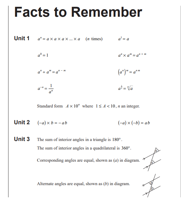 Important GCSE Maths Facts  - Helpful for working on algebra, shapes and angles