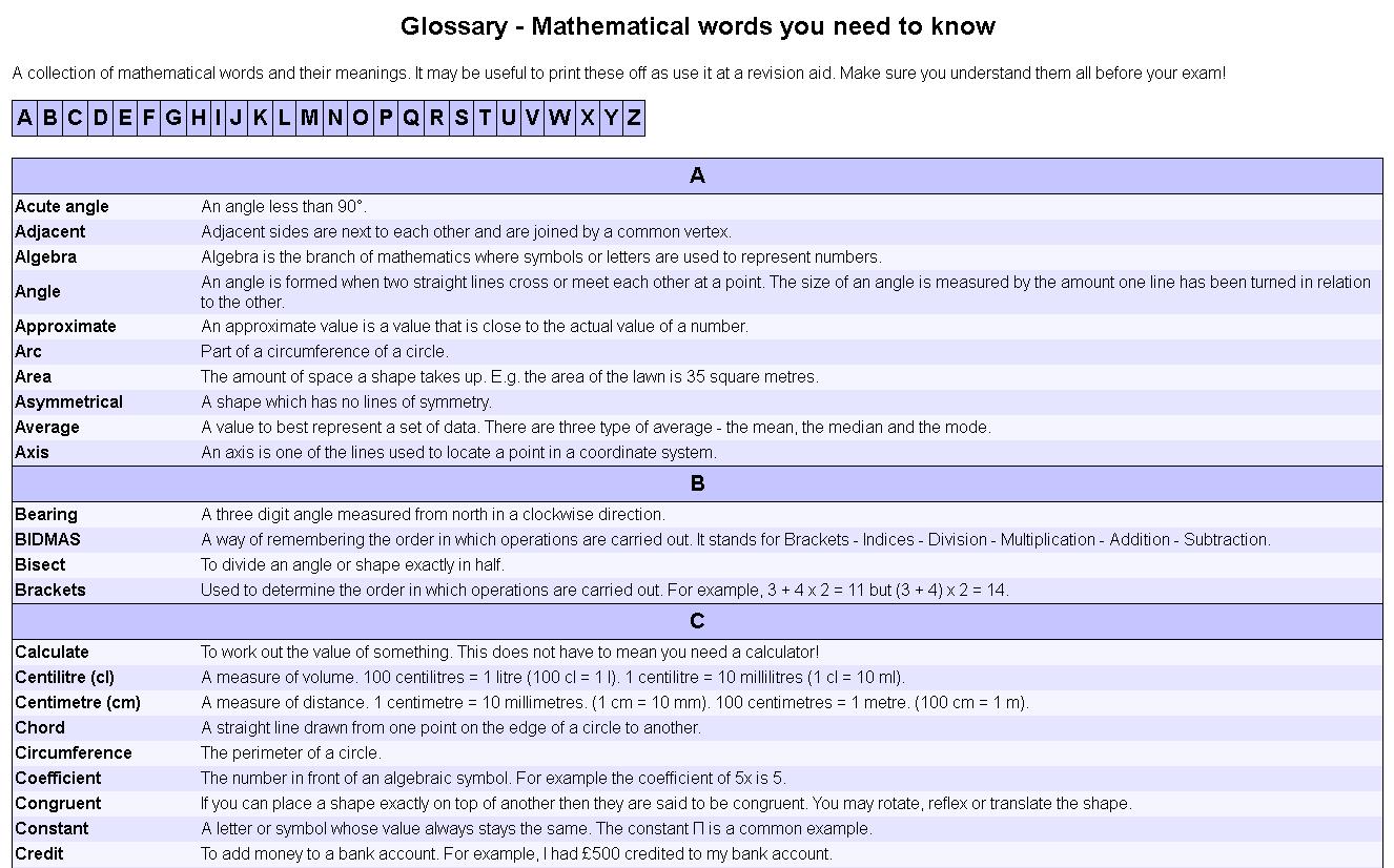 Maths Glossary @ StudyMaths.co.uk -