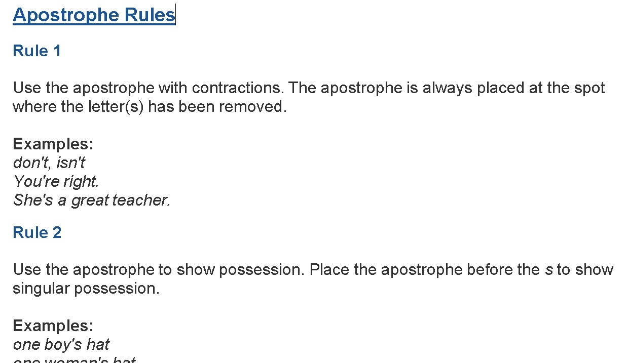 Brief summary sheet of rules of Apostrophe use, includes exercise at the end. -
