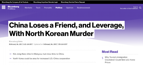 Full article:  https://www.bloomberg.com/politics/articles/2017-02-16/china-loses-a-friend-and-leverage-with-north-korean-murder