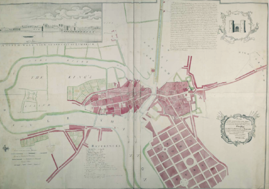 the first surviving drawing of limerick's new town can be dated to 1769 and attributed to the architect and engineer, christopher colles.  colles' 'plan' of limerick was commissioned by earl percy, member of parliament for westminster, for a purpose that is no longer known. percy was commander of the city's garrison and he may have needed a map. he was, too, a major landowner with an interest in development. an early venture in real estate was his development of st john's square immediately inside the old city walls then in the process of being dismantled. the form of the square does not correspond to the common idea of georgian architecture. it is clad in stone, then more affordable than brick, and the roof eaves are not concealed behind a parapet aiming to confer to terrace housing the nobility of a mansion house. but the square was a sign of what was to come in so far as it displayed a formality that was entirely new in limerick. even though, it was never connected to later developments by pery and it remains to this day a disjointed, charming and faintly bleak anachronism in the city.   colles' drawing is neither a map of the city as it existed nor a plan showing it as it might be: it has something of both. the town extension had been under consideration since 1765. while all streets in the irish and english towns are named on the drawing, the lack of names (but one) in the new town suggests that the plan had not been finalised. certainly the drawing could not have been for the purpose of the building for, in the eighteenth century, drawings were never used in the setting out of buildings, let alone of a town extension.   all that is known is that colles sought to have the map engraved and published in london by subscription. with this in mind, he circulated an advertisement in which the map is referred to as 'fine art'. colles' drawing is remarkable in that it is among the few representing a town extension in a single comprehensive vision. james craig's nearly 