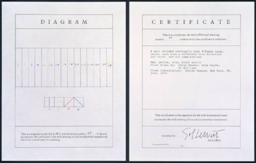 wall drawing number 49 instructions and certificate.1970
