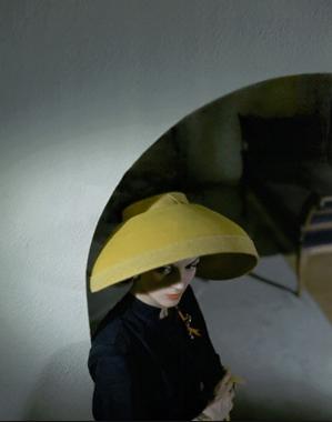 yellow felt scoop bonnet by john frederic. 1943