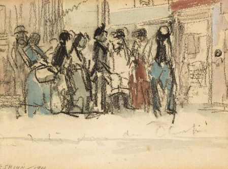 waiting in a queue. charcoal with watercolour on paper. 19--