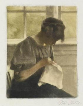 girl sewing. 1910