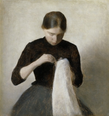 a young woman who sews. 1887
