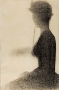 seated woman with a parasol. 1884-85