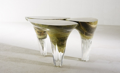 Exilumen Table,Irish Green Marble and Clear Resin, 2014