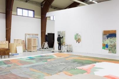 Andreas Eriksson at work in his studio, Kinnekulle, Sweden. 2017