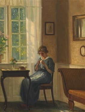 Interior with sewing woman by window