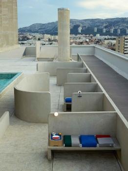 Communal roof terrace at Cité radieuse, Unité d'habitation Marseille, by Le Corbusier, completed 1952