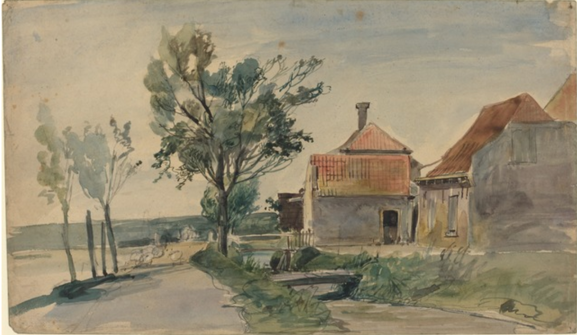 by Johan Barthold Jongkind (1819-1891), A Stream Running between Houses and a Road