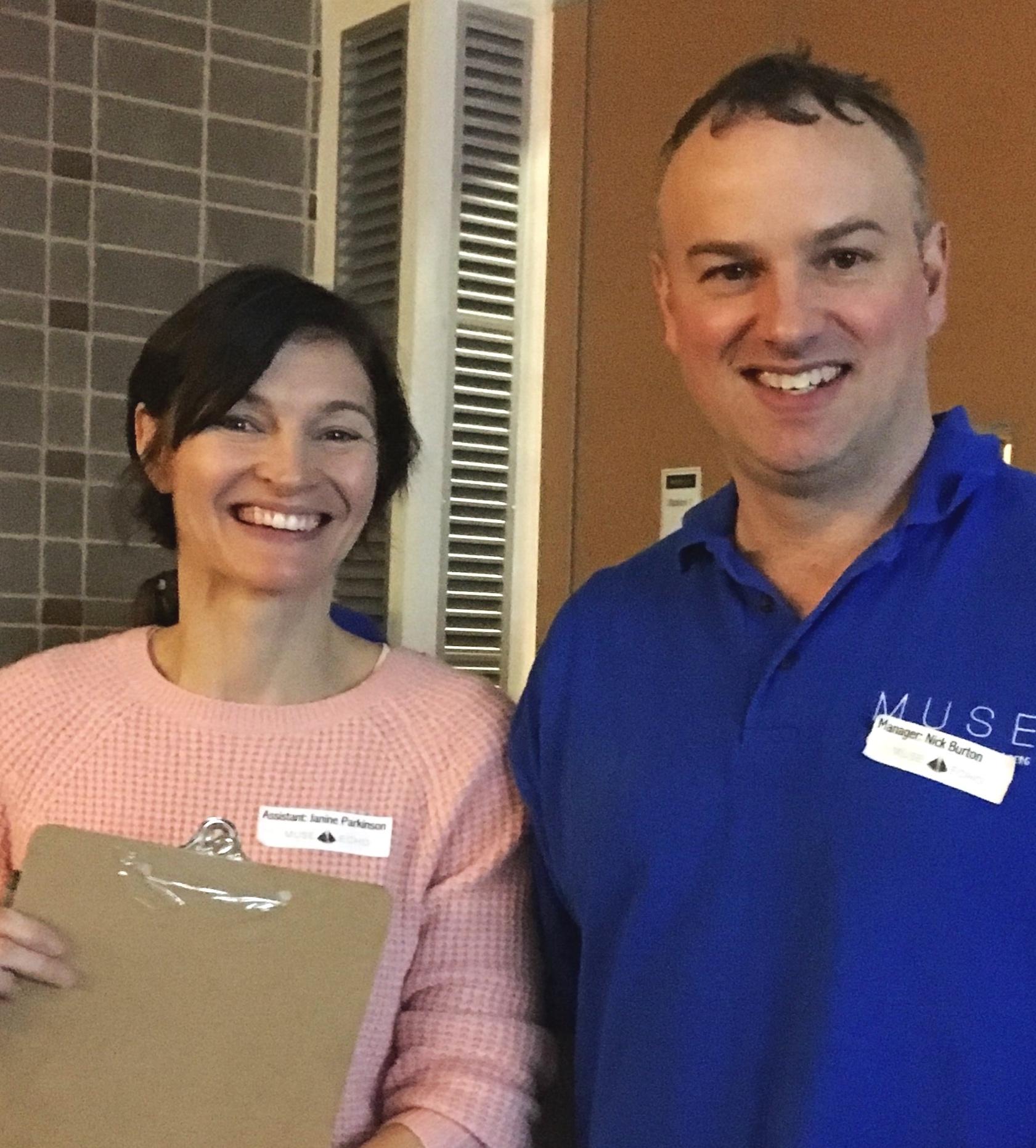 Janine Parkinson (Course Assistant) and Nick Burton (Course Manager)
