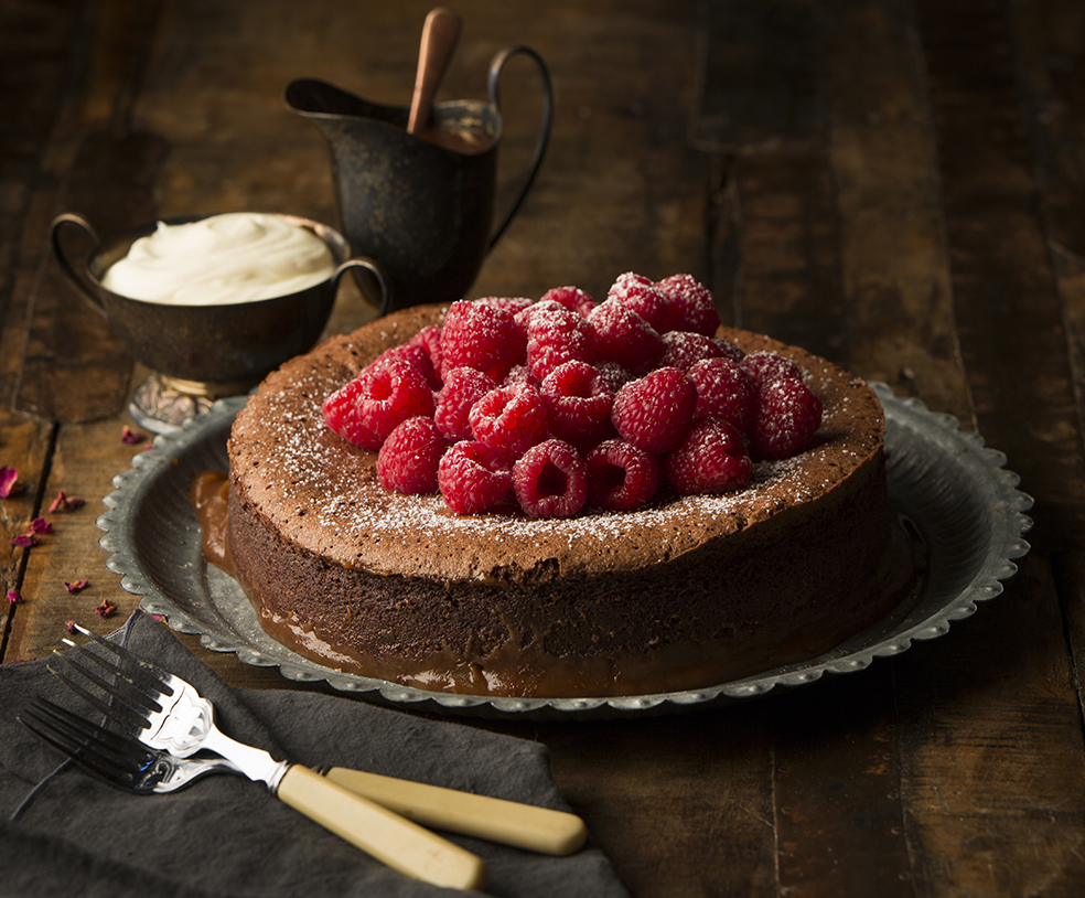 Salty Caramel Chocolate Cake with Raspberries