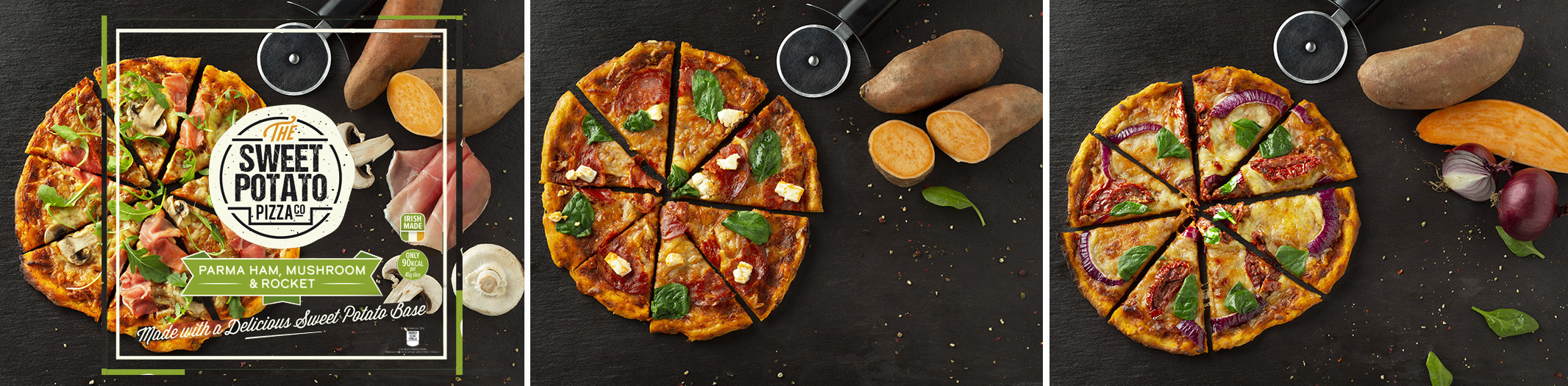 A design template was used to compose and position the pizza, the garnishes and props.