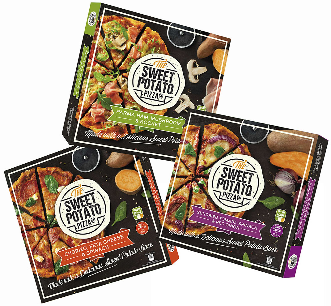 The newly launched packaging for The Sweet Potato Pizza Company.
