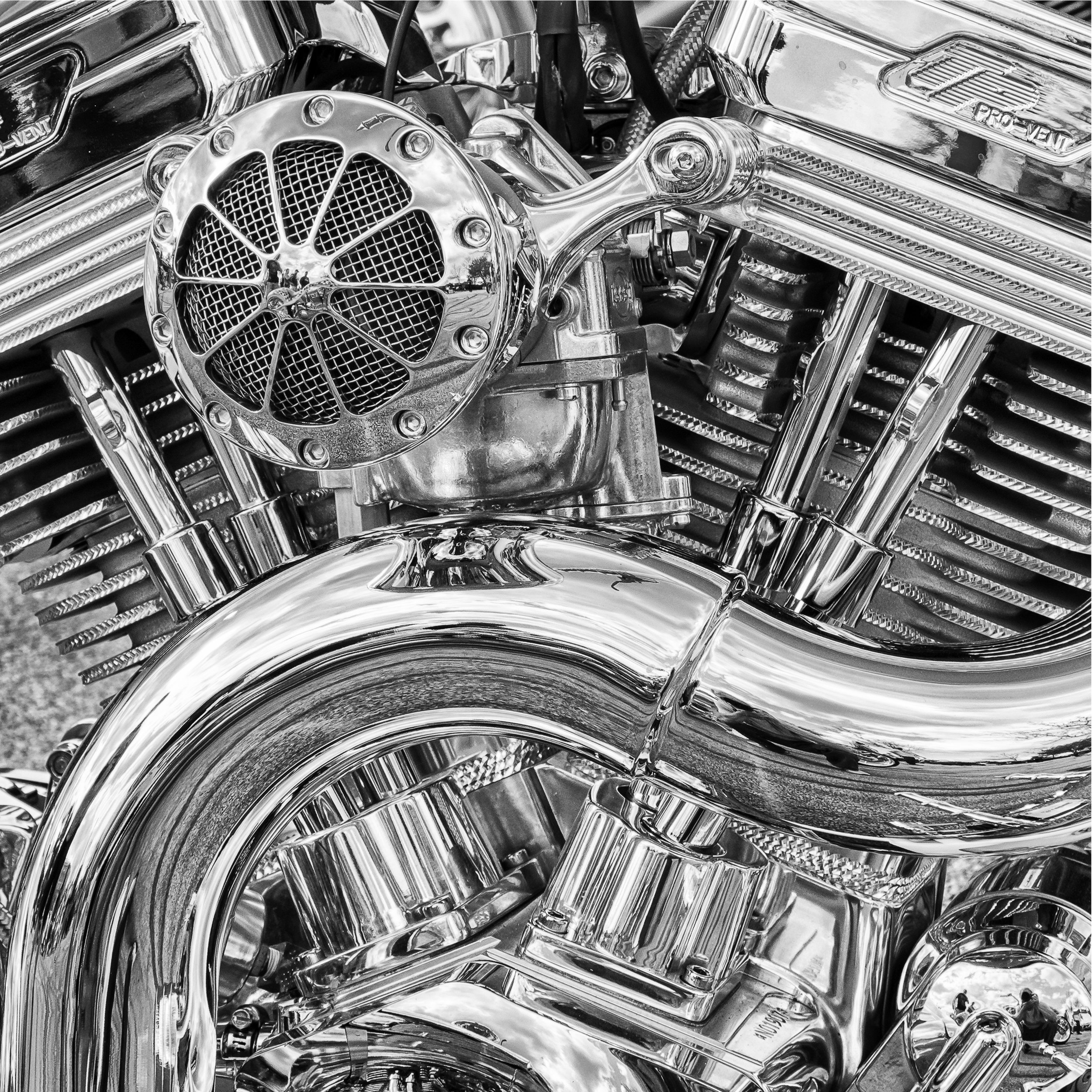 Black and white abstract detailed shot of a motorcycle image. Copyright Bill McSherry.