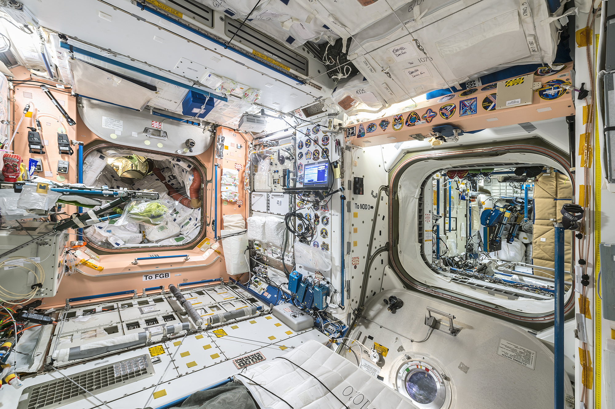 Roland Miller  Node 1 looking into PMA 1 and Node 3, International Space Station, 2017