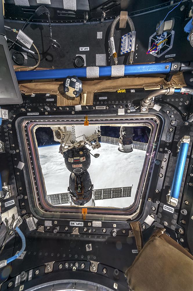 Cupola Window 5 View of Soyuz Spacecraft, International Space Station, 2017