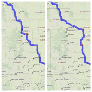 Left:  Direct Houston to Alberta  Right:  Routing to avoid Colorado