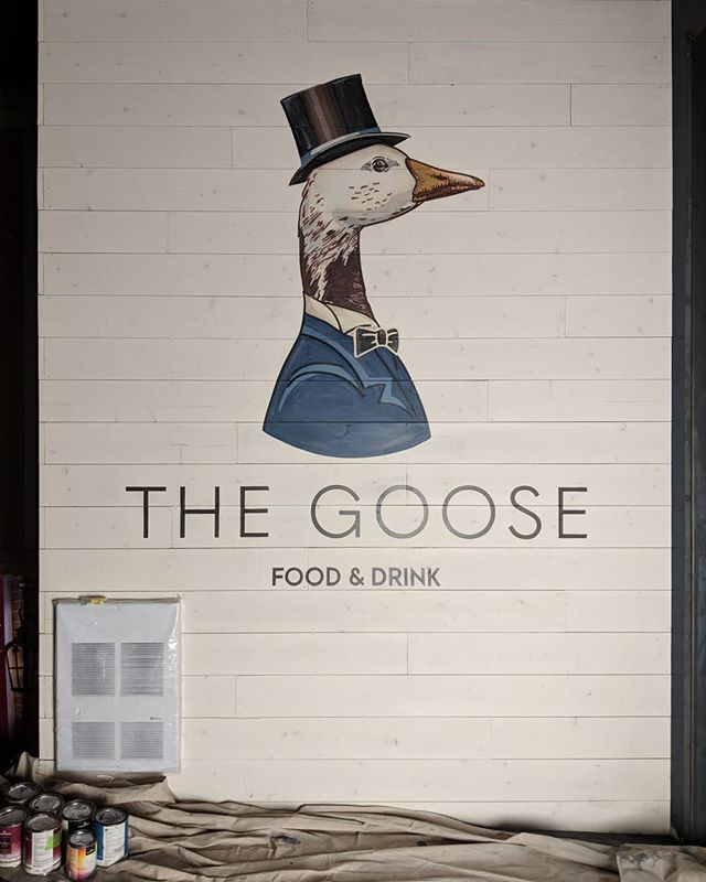 Finished this one for @thegooseyyc opening soon! (Logo provided) Really fun to work on a pictorial. Hit me up with your logos / murals! . . . . . . #yycdesign #thegooseyyc #yycartist #yycpainter #lettering #yycinteriordesign #alwayshandpaint #wip #illustration #yeg #yegartist #yegpainter #calgary #edmonton #signpainter #signpainting