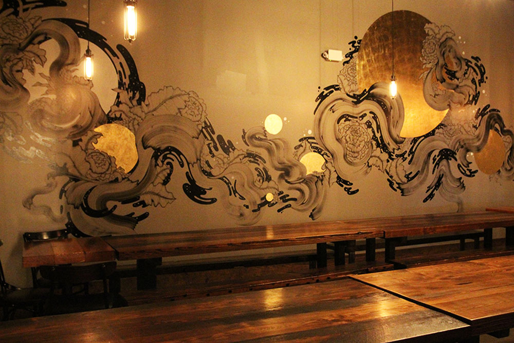 The Private Dining Room - This intimate gathering space is perfect for sit-down dinners or brunches for up to 60 people, as well as cocktail receptions for up to 100. A stunning original mural by artist, Morgan Winter, makes this an elegant and truly unique space for parties, showers and get togethers.