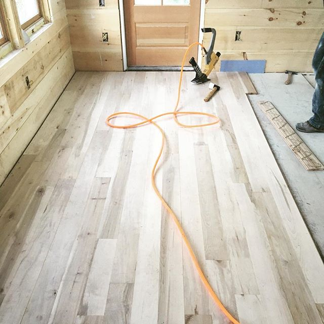 Maple hardwood flooring being installed