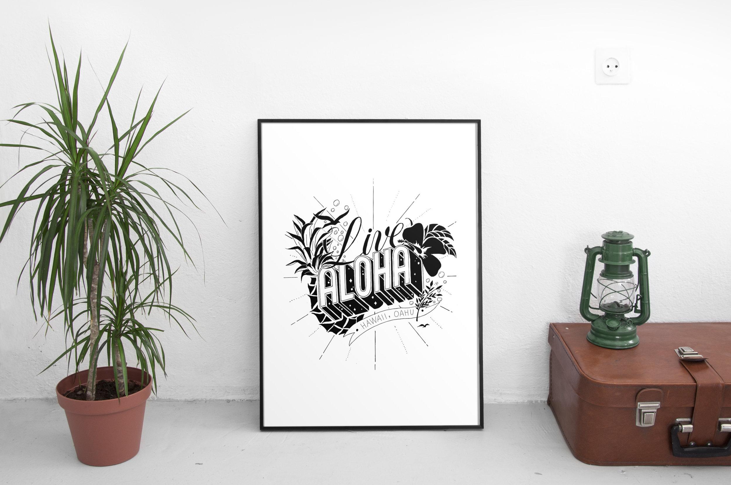 Live aloha custom illustrative lettering poster design
