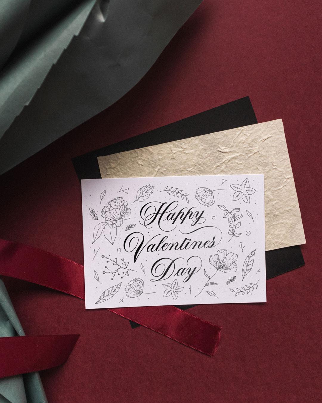 Happy Valentine's Day Floral Illustration Card Design - Leah Design.jpg