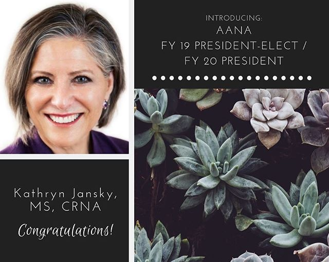 Congratulations to newly-elected AANA FY 19 President-Elect / FY 20 President Kathy Jansky, MS, CRNA!  Bravo to the 16.3% of AZANA members who voted in the Advisory Election. Arizona ranked #5 among the 57 voting states/regions!  #AANA #AZANA #CRNA