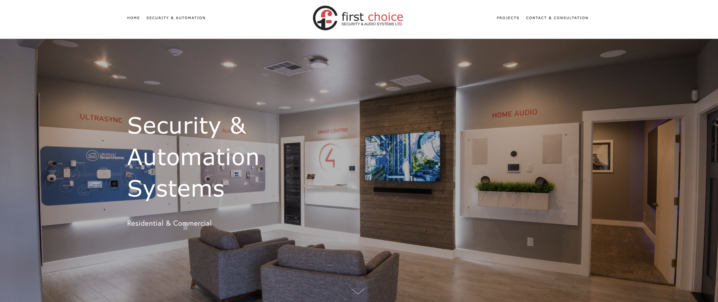 First Choice Security & Audio Systems Ltd - Donna Halme Designs was contracted by First Choice Security & Audio Systems Ltd to design a website for their company. The website was designed to easily and professionally display information about their company, the services they offer, plus the residential and commercial projects they have completed over their many years in business. They wanted a website that was more than just a presence but not too many pages. This website was designed so that it was easy to navigate and provide valuable information about their services and projects. It was suggested that they set up their own instagram account and start taking photos of their completed projects to post on Instagram. That way, they would have the latest images of the projects they do for their clients. In addition, I connected their present domain to their new site making sure their present email accounts were intact, and created a Facebook cover image for their page. This was their Previous Website Design.