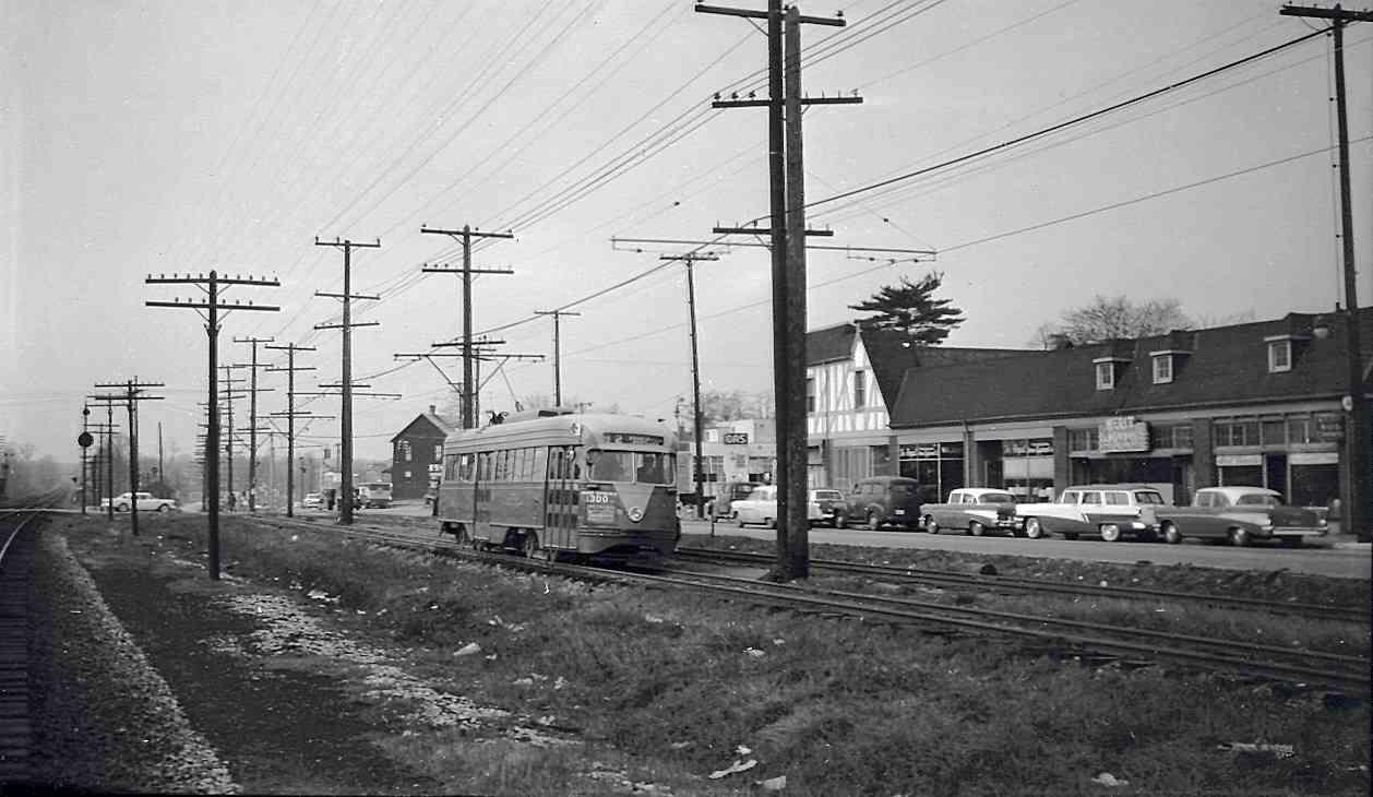 Streetcar 82 at Crittenden Crossing, Hyattsville (1957)