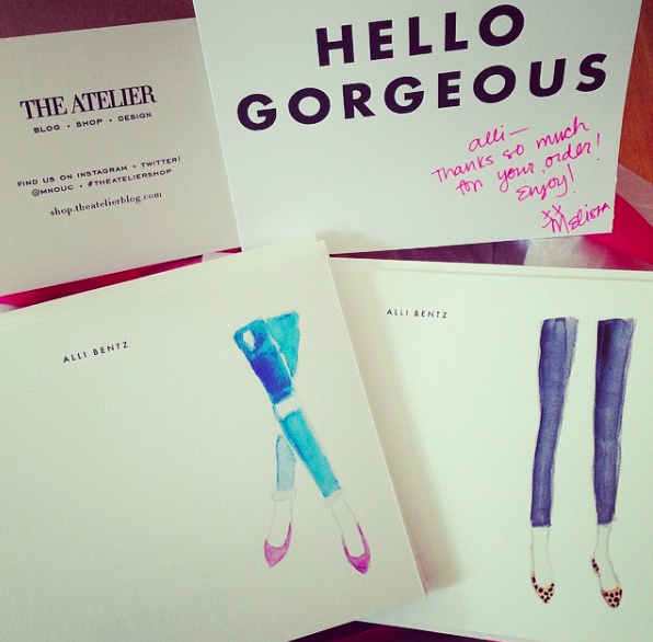 By far, the cutest stationery I've had is from Melissa at   The Atelier  . There are so many cute options.
