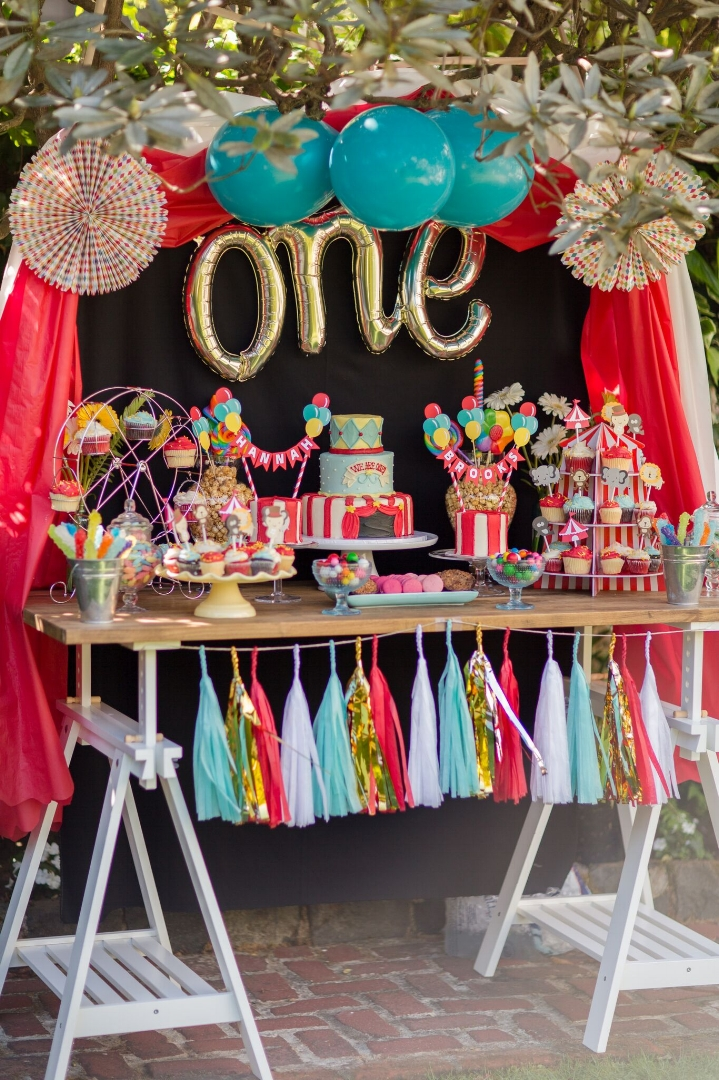 Here, a client celebrated her twins' first birthday with an adorable circus theme because, well, life with twins is truly a circus!