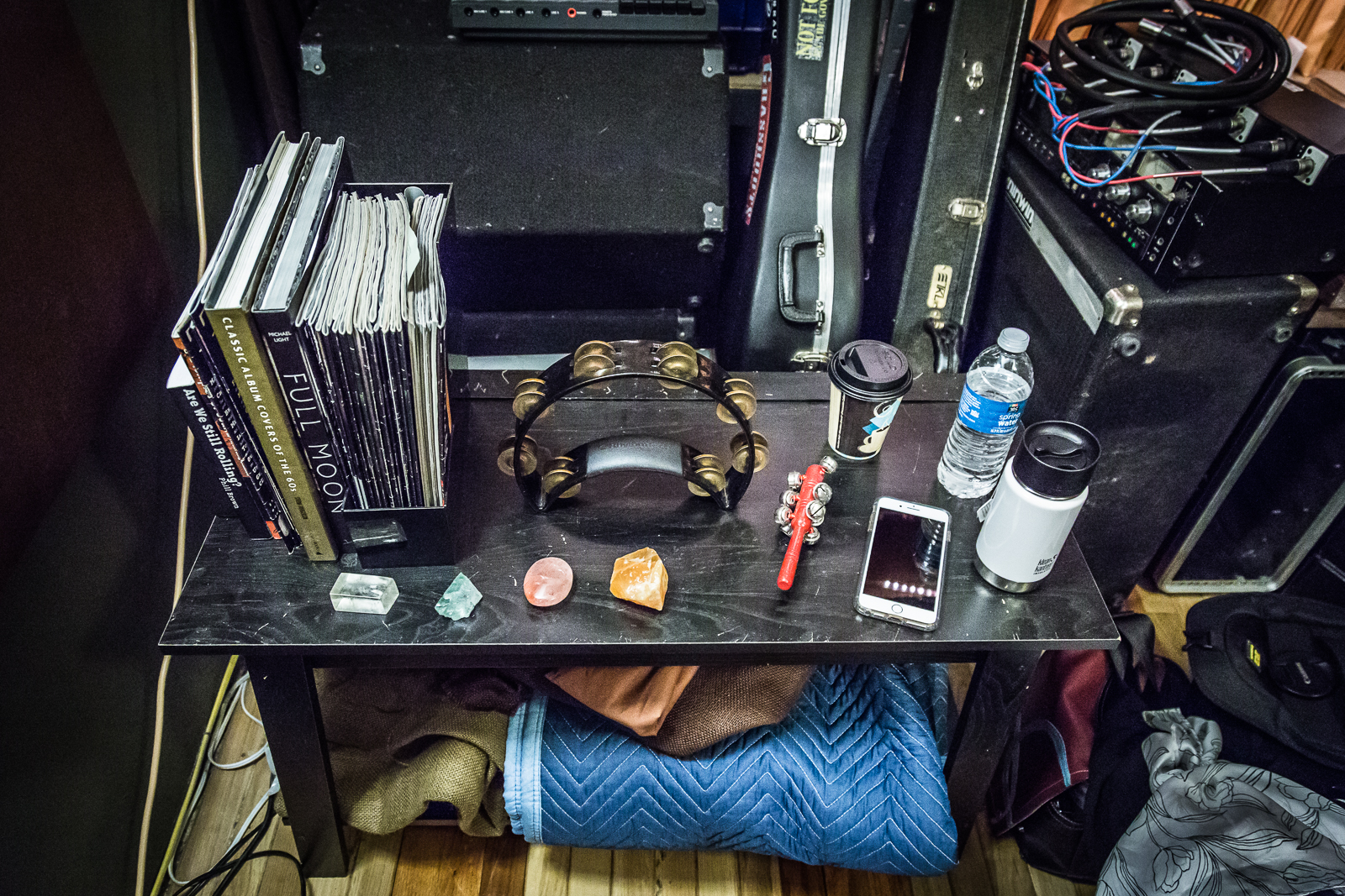 My table in the vocal booth. Brought some good rock energy with me.