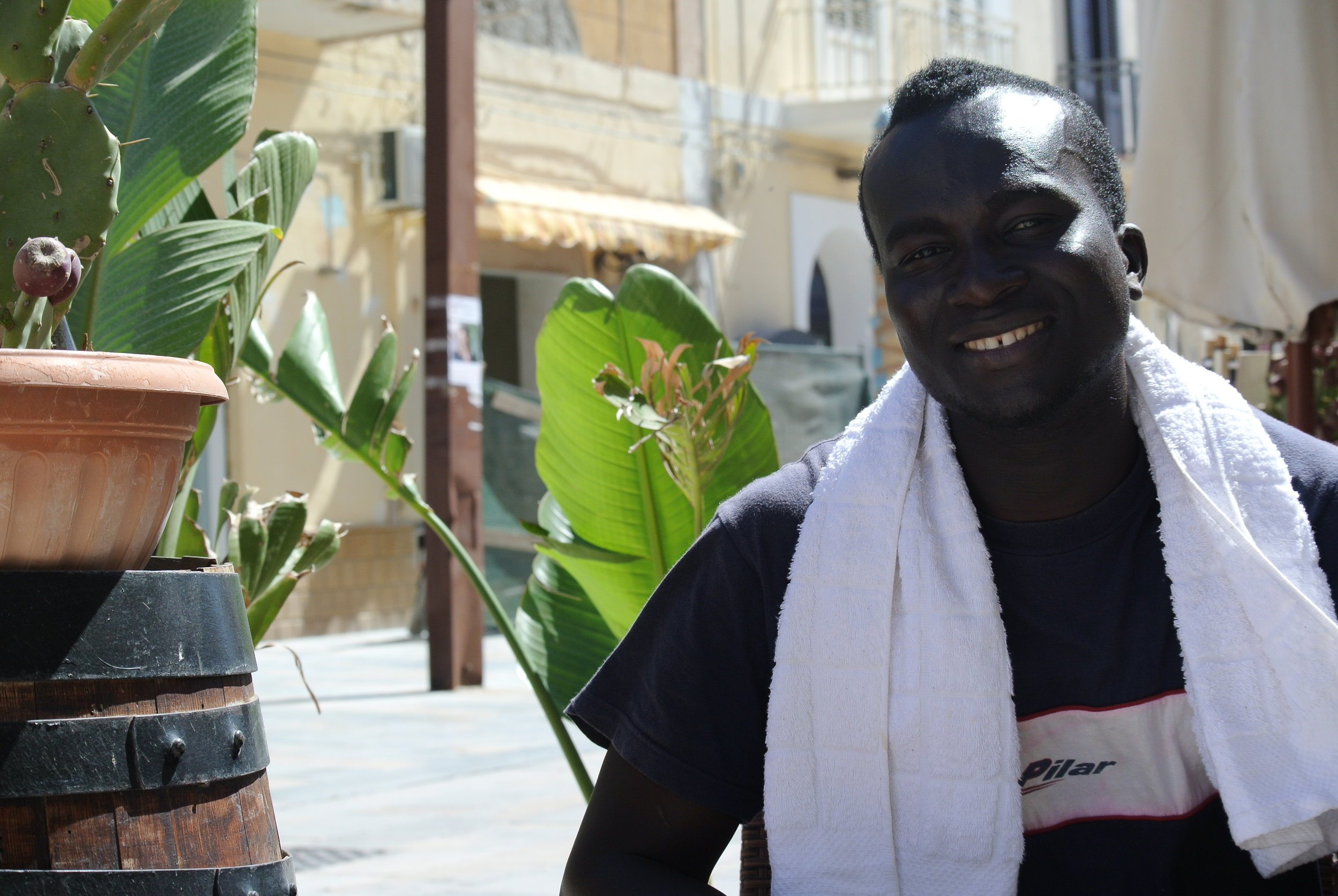 David (Bakary David) on Lampedusa island after his rescue on the Mediterranean. Lampedusa, Italy; May 2017.  © Pamela Kerpius