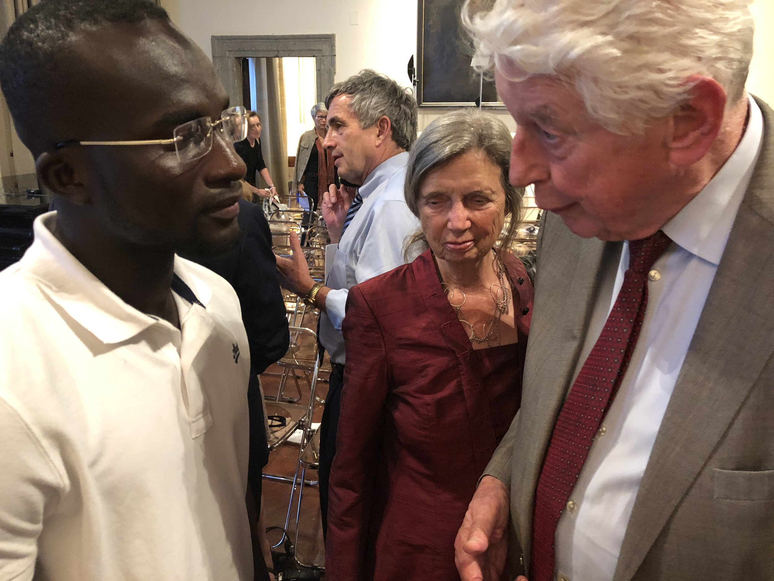 Bakary David and Willem Kok talk after the conference. The Embassy of Switzerland, Rome. 11 June 2018.