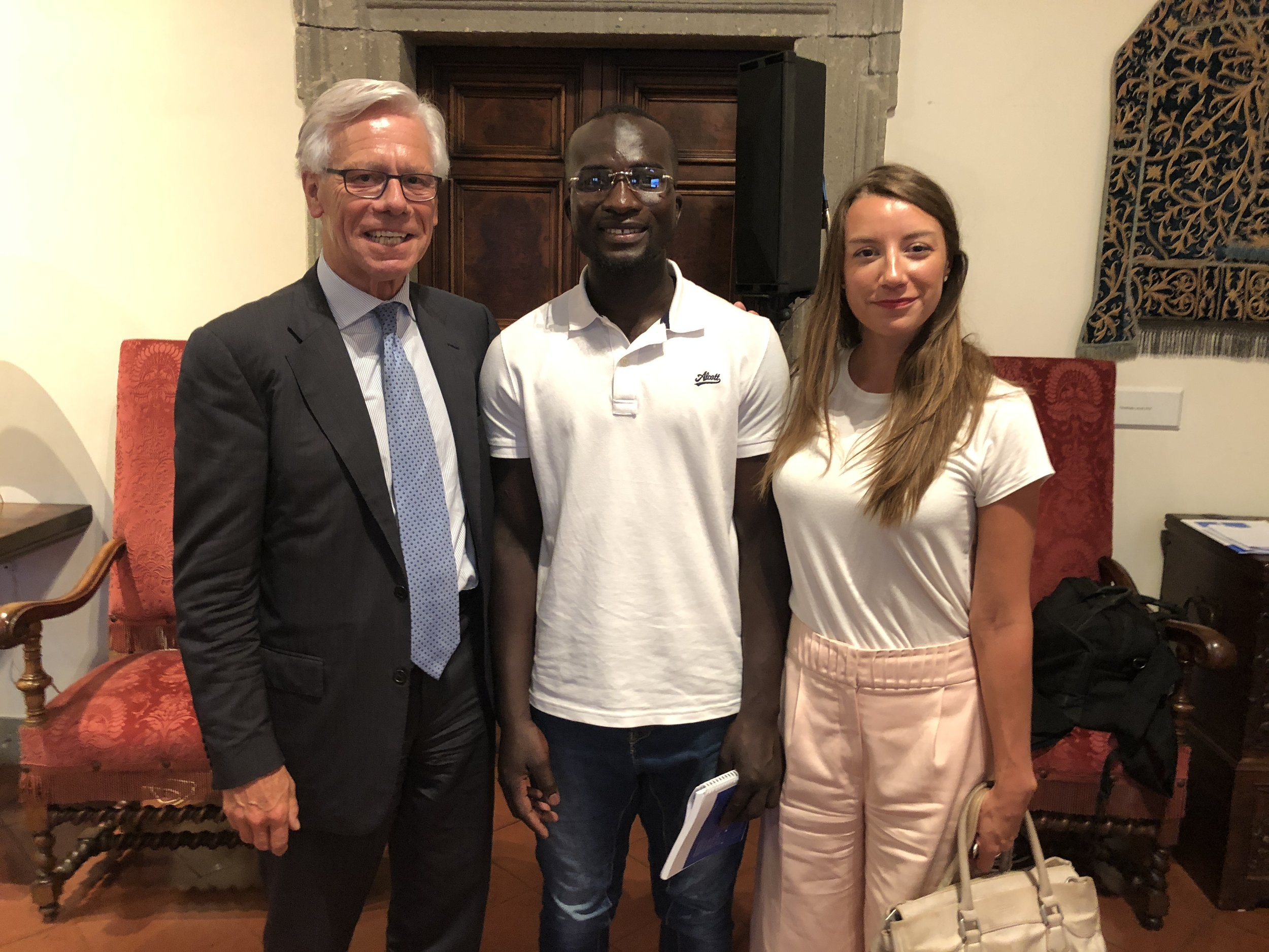 Ambassador Vollebaek, Bakary, and the author at the Embassy of Switzerland, Rome. 11 June 2018.