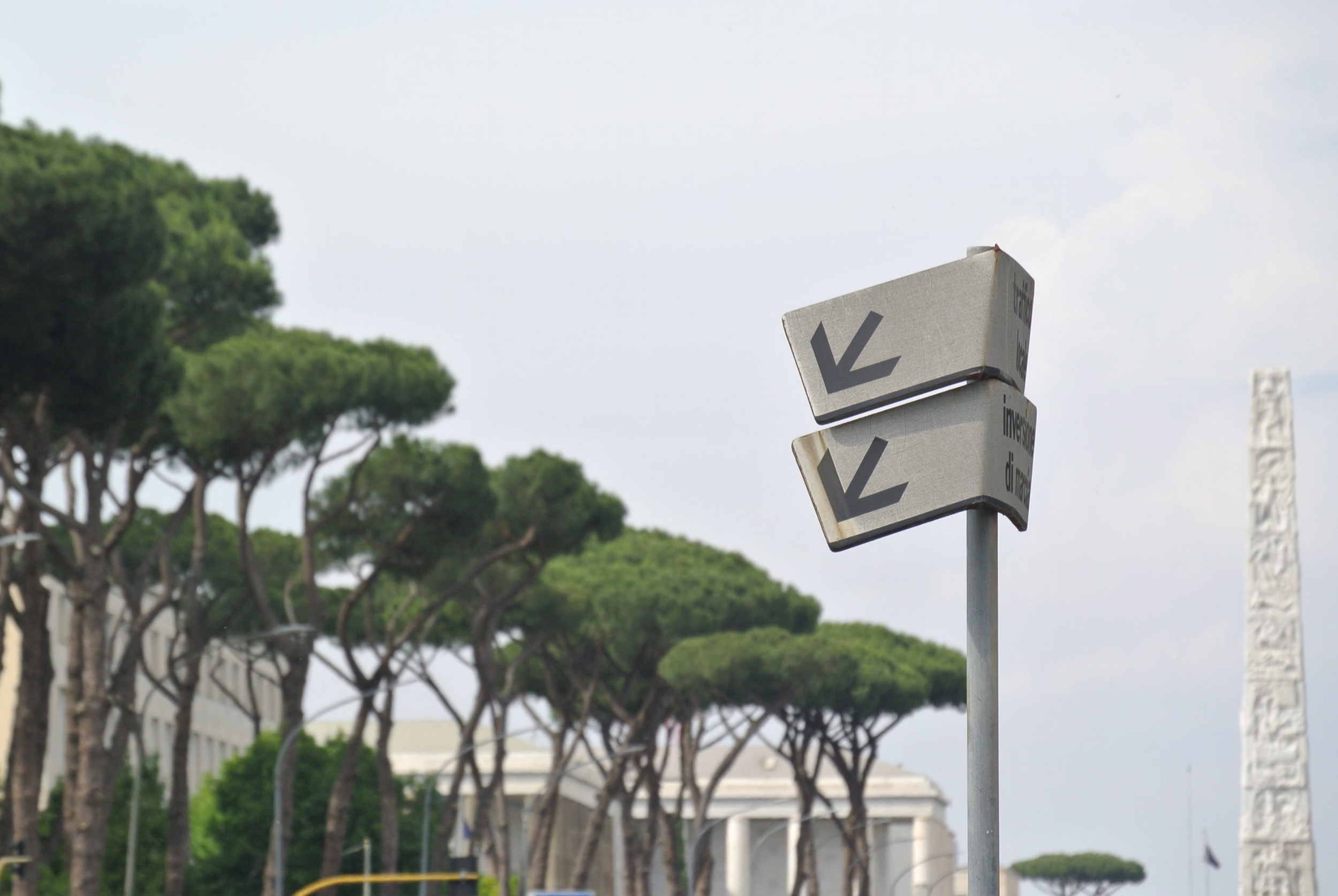 Parabolic Passages: deformed driving guides through the circular space colony. Rome, EUR; May 2018. ©Pamela Kerpius