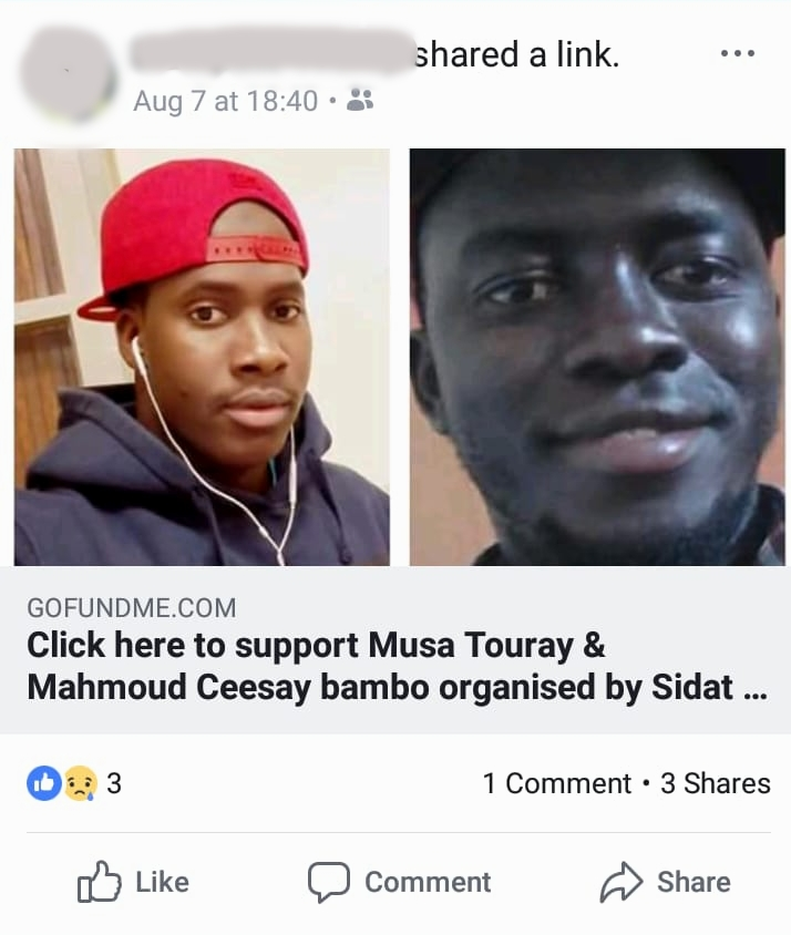 "A post from ""Alagie's"" Facebook announcing the death of Musa and Mahmoud, both killed in the 6 August 2018 car crash near Foggia, Italy.   © Pamela Kerpius"