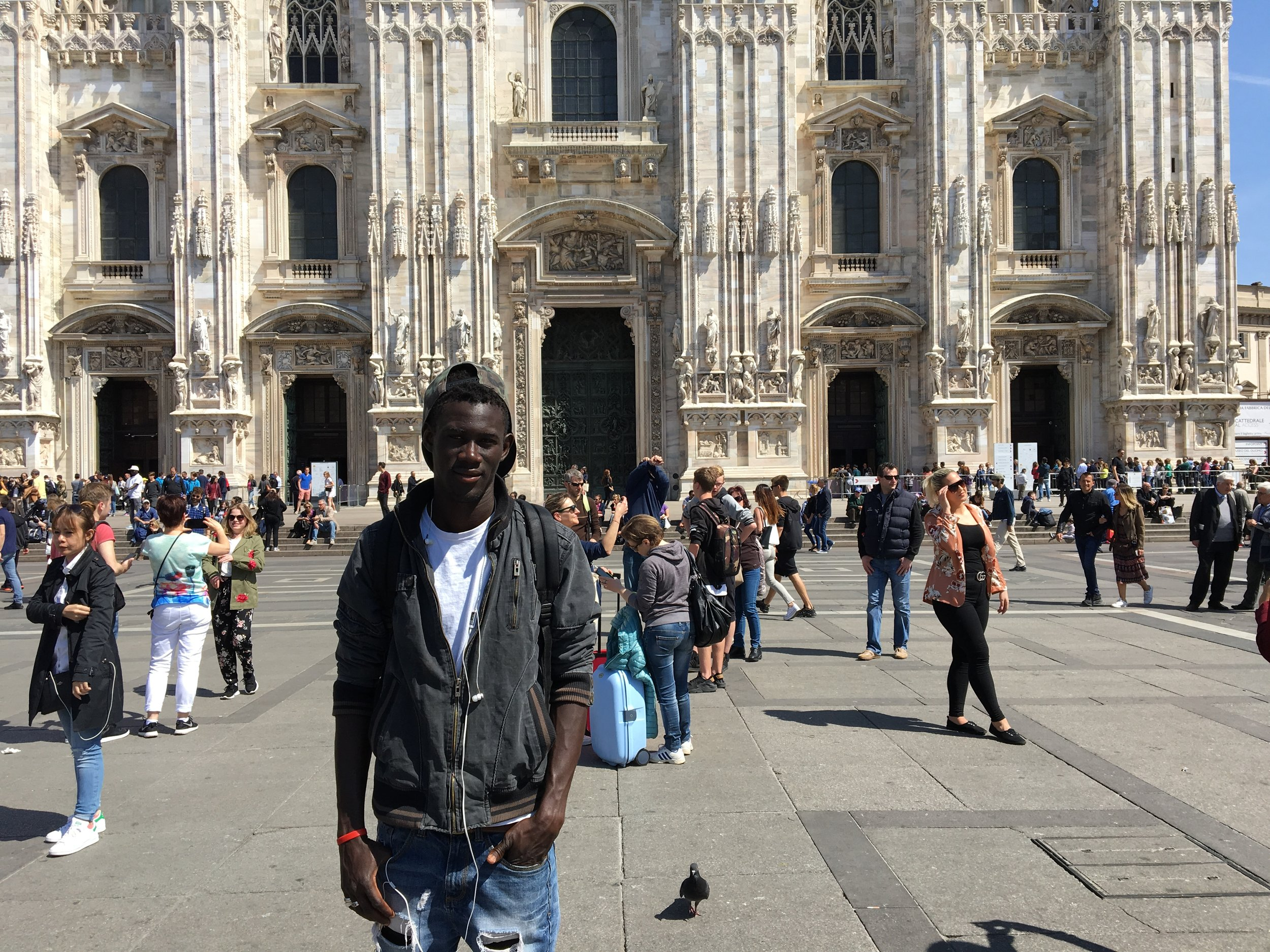 Baye at the piazza del duomo, Milan, Italy. April, 2017. © Pamela Kerpius
