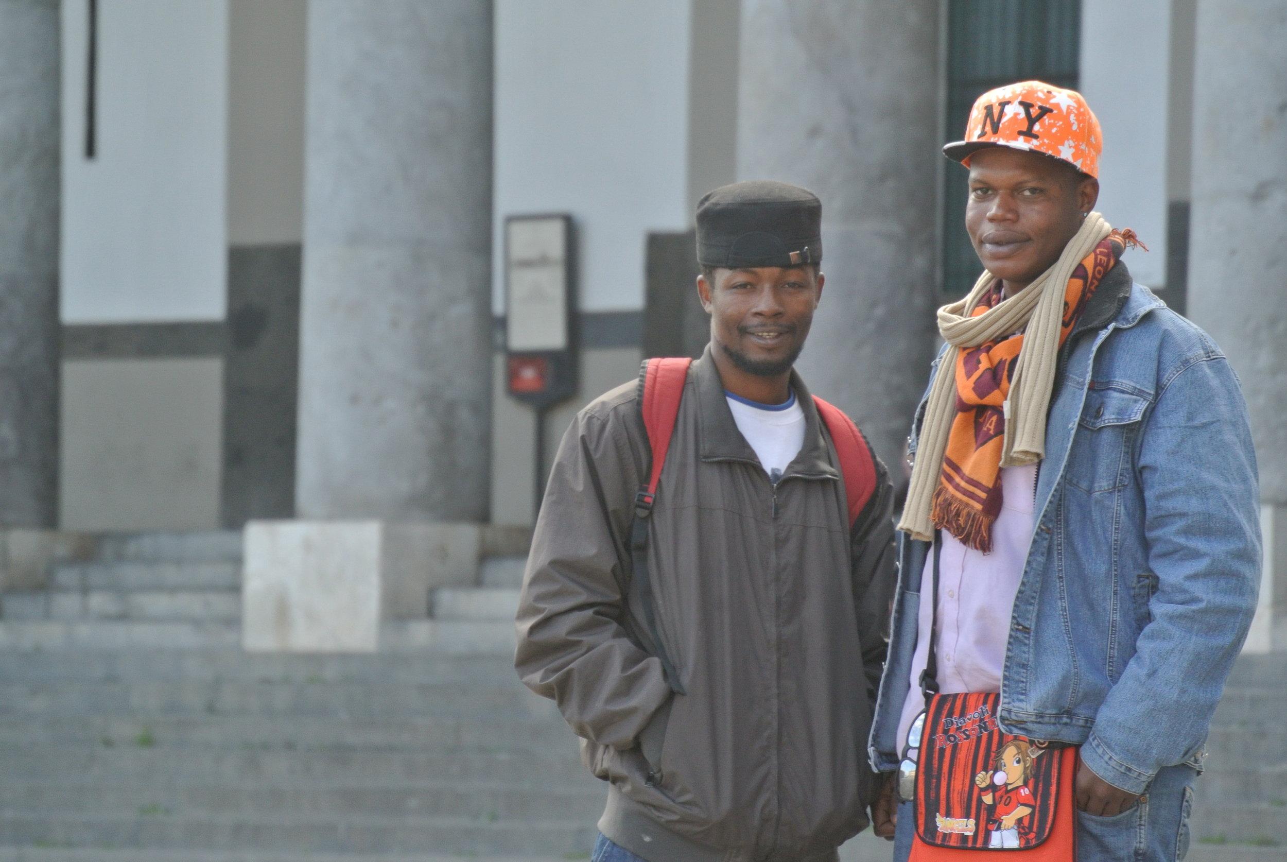 Ousman and Yoro at  Piazza Plebiscito.  Naples, Italy; November 2017. © Pamela Kerpius