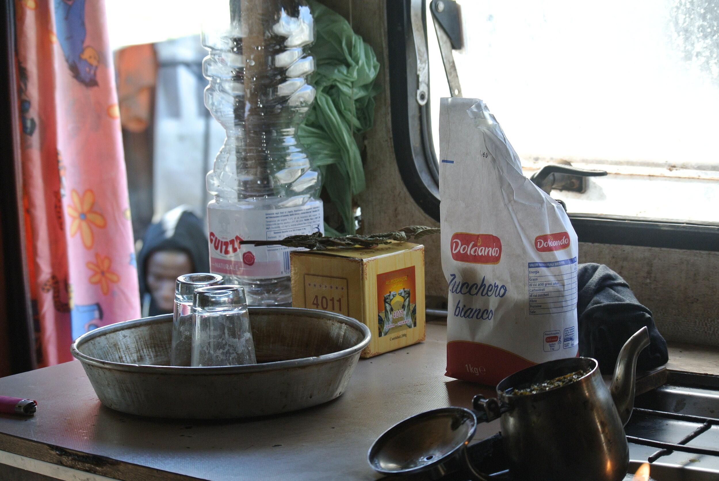 Tea service: inside Peter's container. Foggia, Italy. 8 October 2019. ©Pamela Kerpius