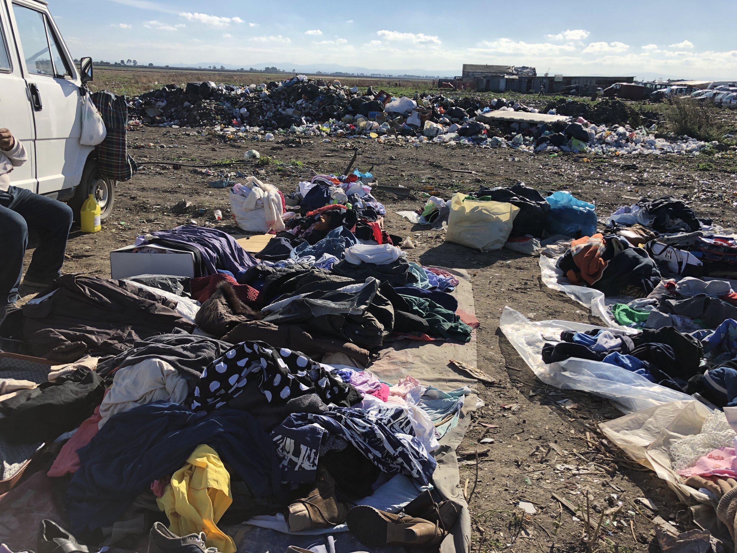 Vendor tarps and trash heaps at Gran Ghetto. Foggia, Italy. 8 October 2019. ©Pamela Kerpius