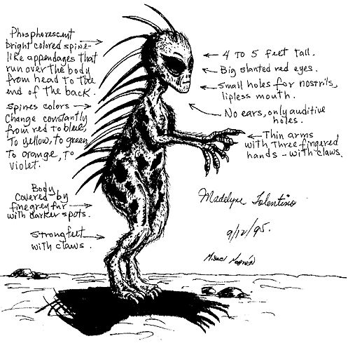 Sketch of the chupacabra witnessed by Madelyne Tolentino, drawn by author Jorge Martin.