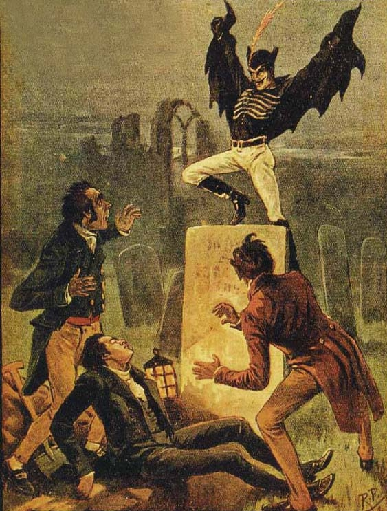 Spring-heeled Jack surprises three victims with his signature leap.